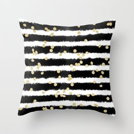 Modern black watercolor stripes chic gold confetti Throw Pillow