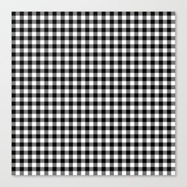 Gingham Black and White Pattern Canvas Print