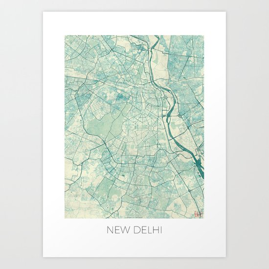 Delhi Map Blue Vintage Art Print