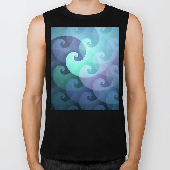 Curly ocean waves Biker Tank
