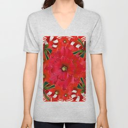 RED HOLIDAYS CANDY CANES & RED  FLOWER ABSTRACT Unisex V-Neck