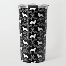 Maltese dog breed floral silhouette pure breed dog gifts black and white Travel Mug