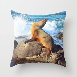 SeaLion Mermaid Throw Pillow