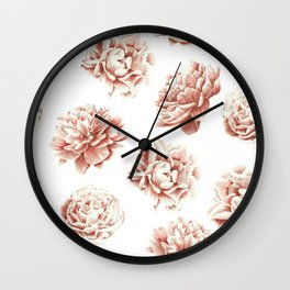 Rose Garden Vintage Rose Pink Cream and White Wall Clock