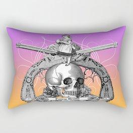 vintage, skull, rose, gun, engraving, pistol, girl, black and white, Rectangular Pillow