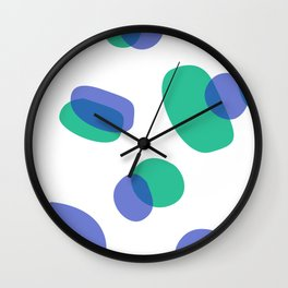 SIMPLE DOTS BLUE ON WHITE Wall Clock