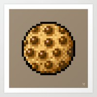 cookie Art Prints featuring Cookie by HOVERFLYdesign