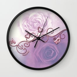 Beautiful violet roses with hearts Wall Clock
