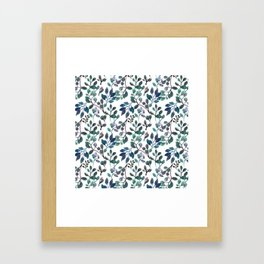 Jade and Succulent Watercolor Plant Pattern Framed Art Print