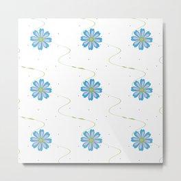 Wavy Floral Pattern Metal Print