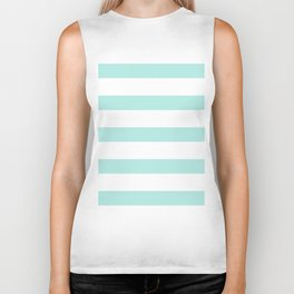 Aqua blue and White stripes lines - horizontal Biker Tank