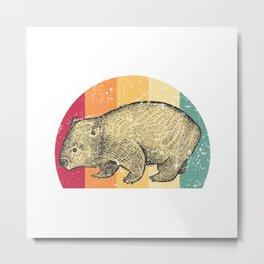 Wombat Retro Metal Print