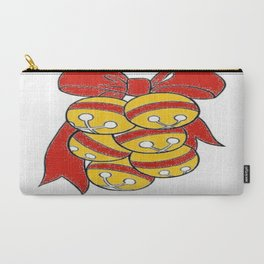 Gold Sleigh Bells With A Red Bow Carry-All Pouch