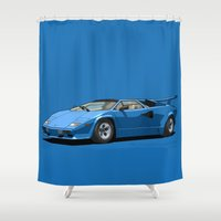 lamborghini Shower Curtains featuring Lamborghini Countach 5000QV Blu Tahiti (US spec) by Digital Car Art