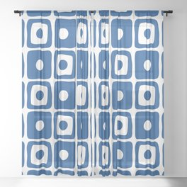 Mid Century Square Dot Pattern Blue Sheer Curtain