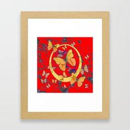 SHABBY CHIC GOLDEN BUTTERFLIES & RED ABSTRACT ART Framed Art Print