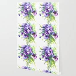 Pansy, flowers, violet flowers, gift for woman design floral vintage style Wallpaper
