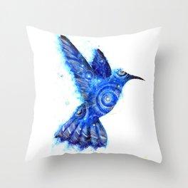 Surreal Hummingbird | Space Hummingbird | Double Exposure Animals Throw Pillow