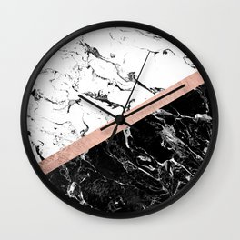 Modern black white marble color block rose gold Wall Clock