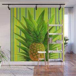 MODERN GREEN HAWAIIAN PINEAPPLE ART Wall Mural
