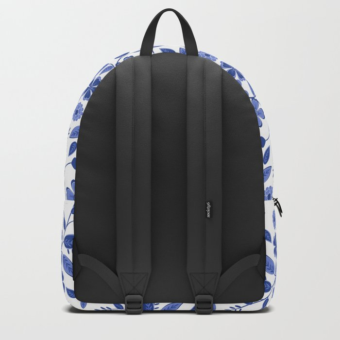 Lovely blue flowers on a white background. Backpack