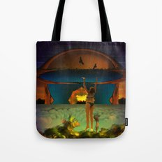 Hanging on is often tricky when the sky descends too quickly Tote Bag