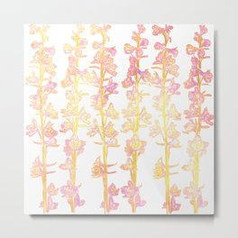 Flower Stalk Motif in Pink and Yellow on a Light Background Metal Print