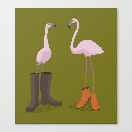 Fashion Flamingos Canvas Print