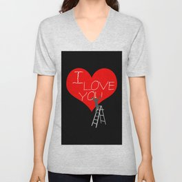 A Man Worker Stands On A Step Ladder And Chisels I Love You In Red Heart. Black Background Unisex V-Neck