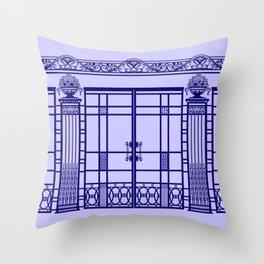 ART DECO, ART NOUVEAU IRONWORK: French Blue Throw Pillow