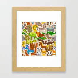collection Funny cartoon Animals seamless pattern on beige background. Vector Framed Art Print