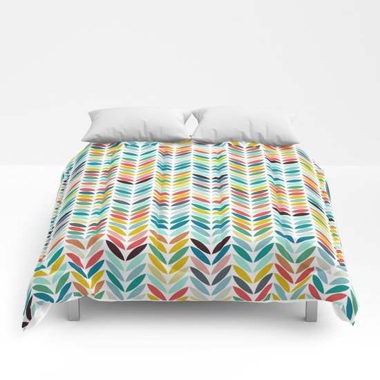 llama leaf arrow chevron white Comforters