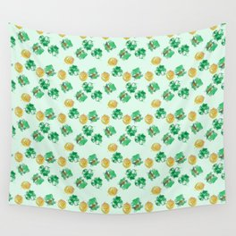 Luck Shamrock St. Patricks Day Pattern Wall Tapestry