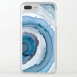 Blue Agate Painting Clear iPhone Case