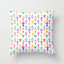 Rainbow Watercolor Rocket Ship Pattern Throw Pillow