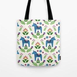 Swedsh Dala Horses Blue Tote Bag