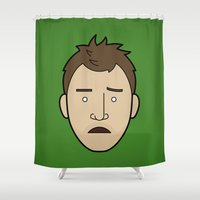 jesse pinkman Shower Curtains featuring Faces of Breaking Bad: Jesse Pinkman (Early) by Rob Barrett — Nice Hot Cuppa