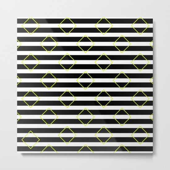 Black And White Stripes And Yellow Squares Pattern Metal Print