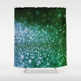 Aqua Glitter effect- Sparkling print in green and blue Shower Curtain