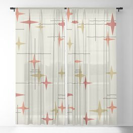 Mid Century Modern Stars Sheer Curtain
