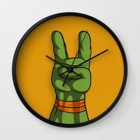 ninja turtle Wall Clocks featuring Teenage Mutant Ninja Turtle Hand by Sampson Visuals
