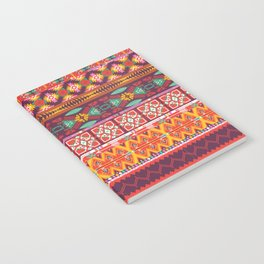 Seamless colorful aztec carpet with birds,flowers and arrow Notebook