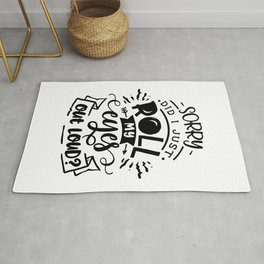 Sorry did I just roll my eyes out loud - Funny hand drawn quotes illustration. Funny humor. Life sayings. Rug