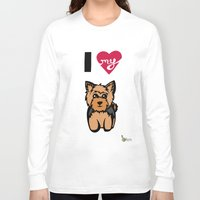 yorkie Long Sleeve T-shirts featuring I Love My Yorkie by Gellygen Creative