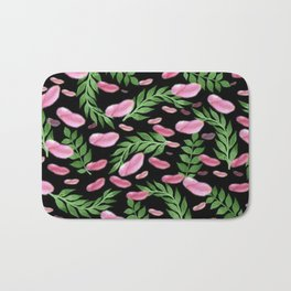 flying leaves in pink Bath Mat