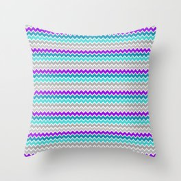Teal Turquoise Blue Purple Grey Gray Chevron  Throw Pillow