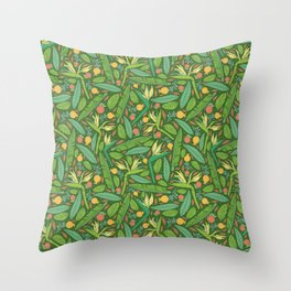 Strelitza with palm leaves and orange pomegranate on dark green background Throw Pillow