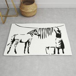 Banksy, A Woman Washing Zebra Stripes Artwork Reproduction, Posters, Tshirts, Prints Rug