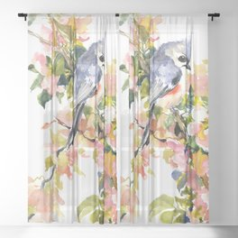 Titmouse Bird and Spring Blossom, floral pink green spring colors Sheer Curtain