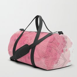 Watercolor Mandala - Hand Drawn Boho Floral Pink Mandala Duffle Bag